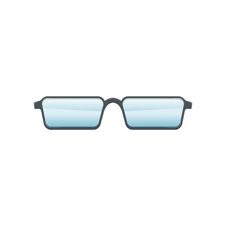 Glasses with blue lenses and gray metallic frame. Flat vector design for mobile application or promo poster of optical store