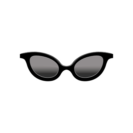 Retro womens cat eye sunglasses with black lenses and plastic frame. Fashion accessory. Flat vector element for mobile app Illustration