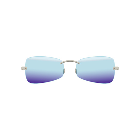 Stylish sunglasses with polarized blue-purple lenses. Protective eyewear with gradient. Stylish unisex accessory. Flat vector design