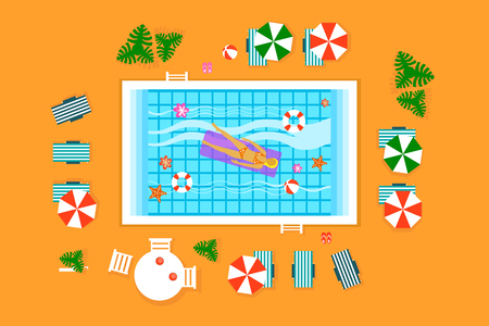 Woman swimming, floating on inflatable mattress swimming pool, top view, beach summer time colorful vector Illustration Banque d'images - 104318153