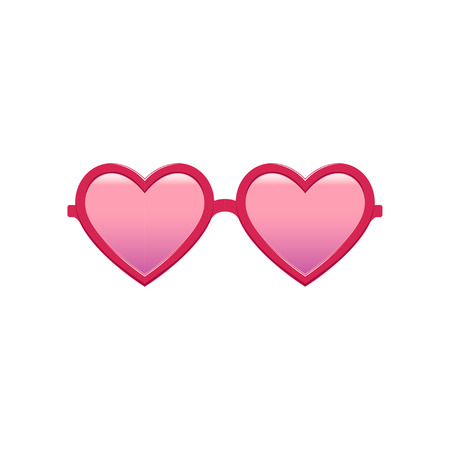 Cute heart-shaped sunglasses with pink tinted lenses and plastic frame. Fashion womens accessory. Protective eyewear. Flat vector design