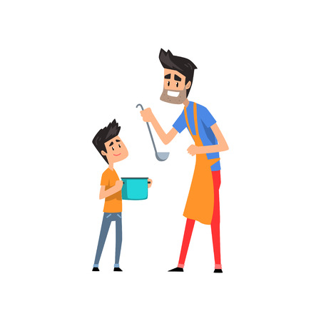 Super dad cooking food for his son vector Illustration on a white background