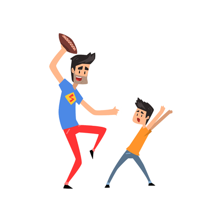 Super hero dad character playing American football with his son vector Illustration on a white background