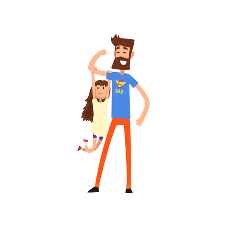 Strong super hero dad with daughter hanging on his hand vector Illustration on a white background