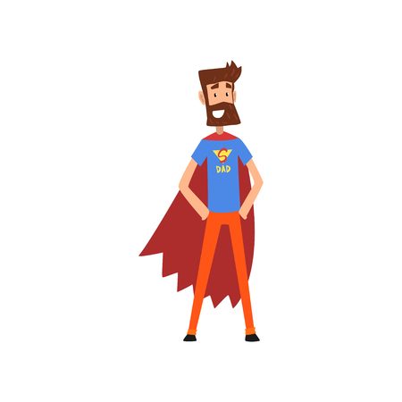Super hero dad character in superhero costume and red cape vector Illustration on a white background