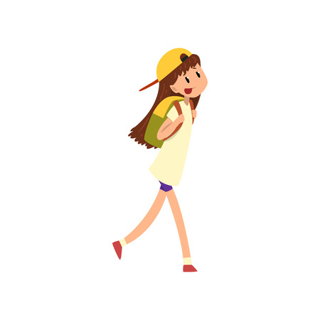 Happy girl walking with backpack vector Illustration on a white background