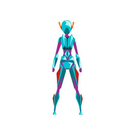 Blue female robot space suit, superhero, cyborg costume, back view vector Illustration on a white background