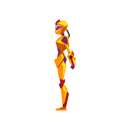 Female robot space suit, superhero, cyborg costume, side view vector Illustration on a white background