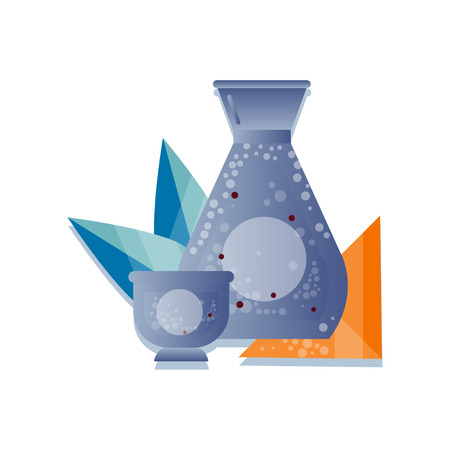 Bottle of sake, traditional Japanese alcohol drink vector Illustration on a white background