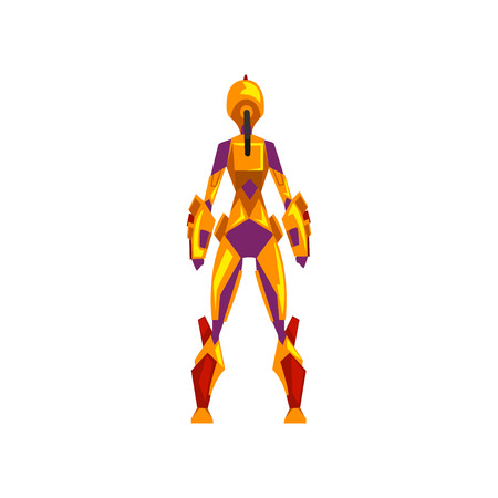 Female robot space suit, superhero, cyborg costume, back view vector Illustration on a white background