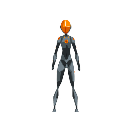 Gray female robot space suit, superhero, cyborg costume, front view vector Illustration on a white background