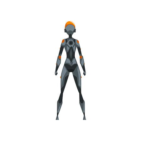 Gray female robot space suit, superhero, cyborg costume, back view vector Illustration on a white background Illusztráció