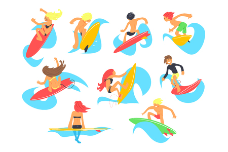 Surf people characters with surfboard riding waves set, cartoon vector Illustrations on a white background 写真素材 - 104318048