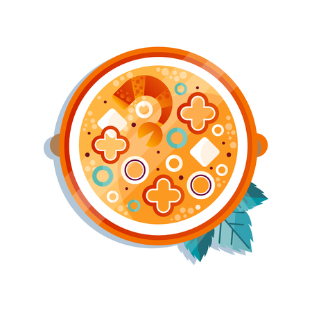 Soup with vegetables and shrimps, traditional dish of Japanese cuisine vector Illustration on a white background Banque d'images - 104318066
