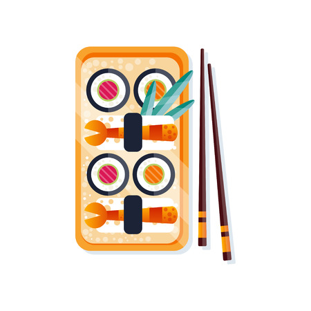 Sushi rolls on a plate and chopsticks, traditional Japanese seafood cuisine vector Illustration on a white background