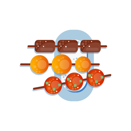 Sweet rice dessert dango, traditional japanese sweets on the plate vector Illustration on a white background