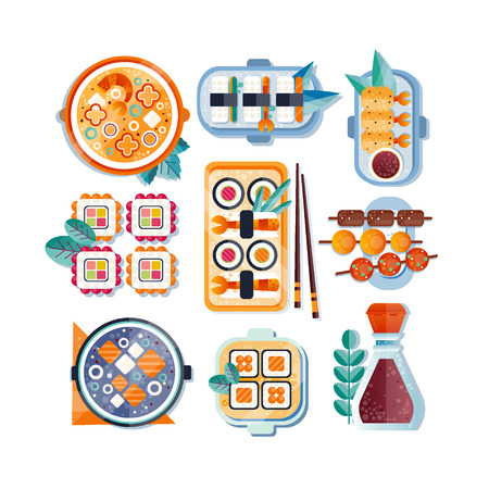 Japanese restaurant food with plate, chopsticks and spices set, Asian cuisine vector Illustration isolated on a white background. Иллюстрация