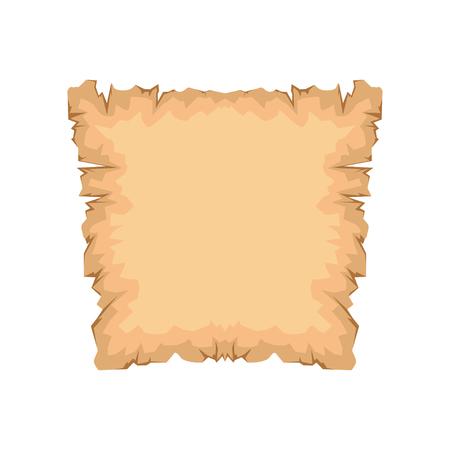 Carta antica, papiro con spazio per testo vettoriale illustrazione isolato su sfondo bianco. Vettoriali