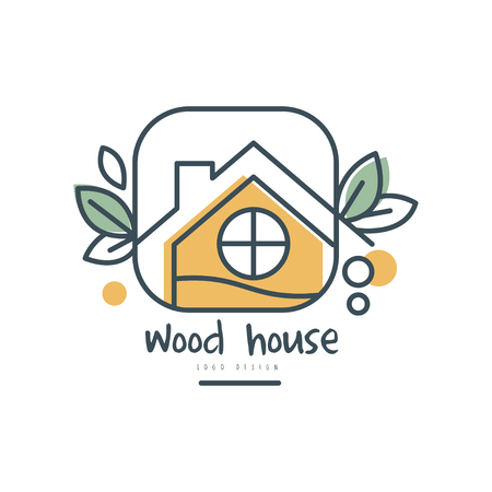 Wood house  design, ecologic home sign with green leaves vector Illustration on a white background