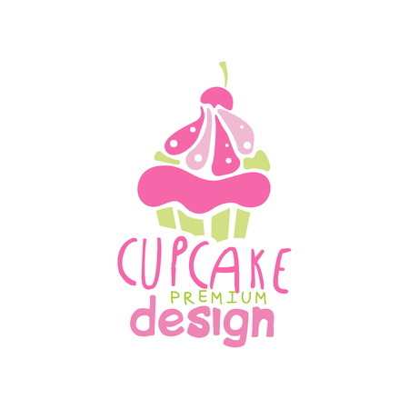 Cupcake   design, emblem in pink colors for confectionery, candy shop or sweet store vector Illustration on a white background Stockfoto - 104332917