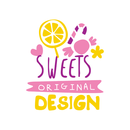 Sweets original  design, emblem for confectionery, candy shop or sweet store vector Illustration on a white background Stockfoto - 104332919