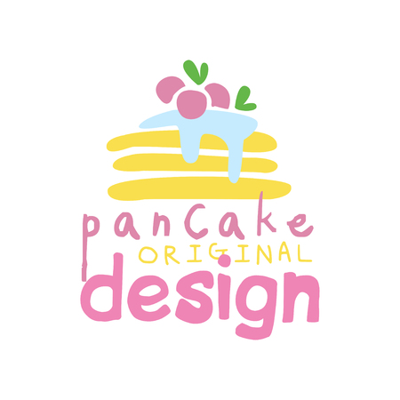 Pancake original  design, emblem for confectionery, candy shop, restaurant, bar, cafe, menu, sweet shop vector Illustration on a white background Stockfoto - 104332772