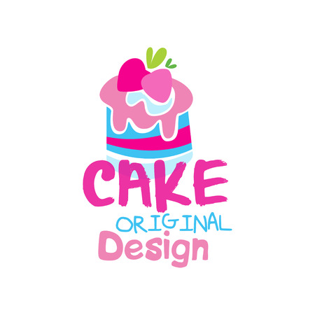 Cake original design, emblem in pink colors for confectionery, candy shop or sweet store vector Illustration on a white background Stock Illustratie