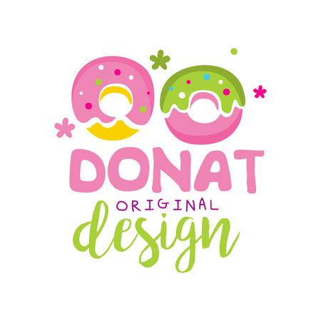 Donut original   design, emblem for confectionery, restaurant, bar, cafe, menu, sweet shop vector Illustration on a white background Stockfoto - 104332779