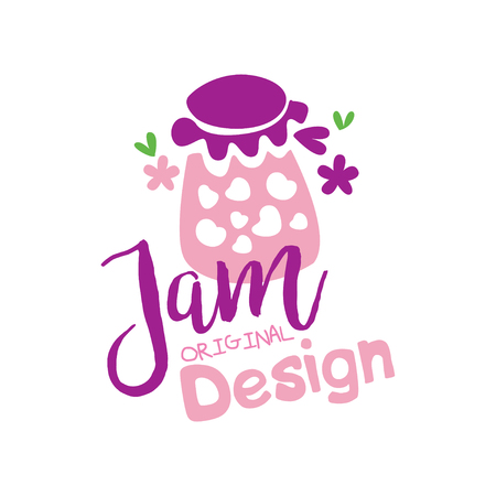 Jam original  design, emblem for confectionery, candy shop, restaurant, bar, cafe, menu, sweet shop vector Illustration on a white background Stockfoto - 104332780