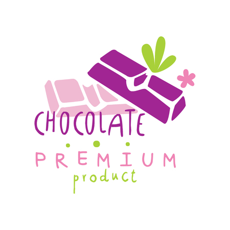 Chocolate premium product   design, emblem for confectionery, candy shop or sweet store vector Illustration on a white background Stockfoto - 104332781