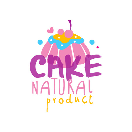 Cake natural product  design, label for confectionery, candy shop, restaurant, bar, cafe, menu, sweet store vector Illustration on a white background