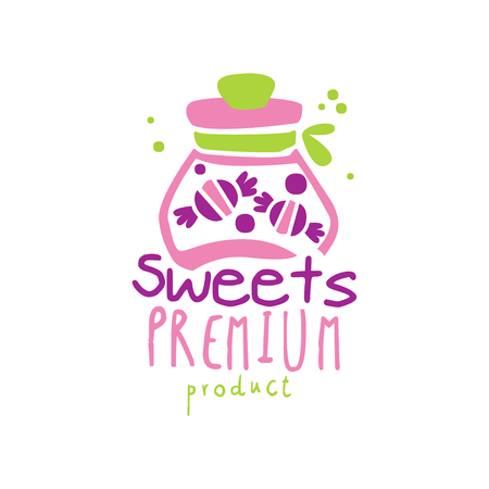 Sweets premium product  design, emblem for confectionery, candy shop or sweet store vector Illustration on a white background Stock Illustratie