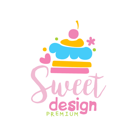 Sweets premium   design, label for confectionery, candy shop, restaurant, bar, cafe, menu, sweet store vector Illustration on a white background Stock Illustratie