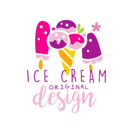 Ice cream original  design, label for confectionery, candy shop, restaurant, bar, cafe, menu, sweet store vector Illustration on a white background