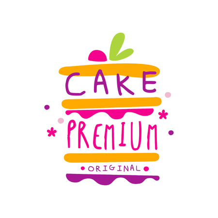 Cake premium original  design, label for confectionery, candy shop, restaurant, bar, cafe, menu, sweet store vector Illustration on a white background Stockfoto - 104332794