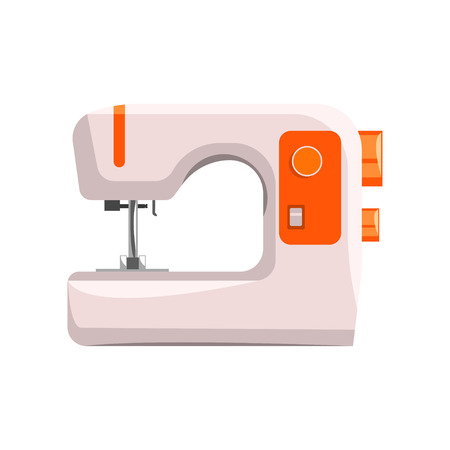 Sewing machine, modern equipment of dressmaker vector Illustration isolated on a white background.