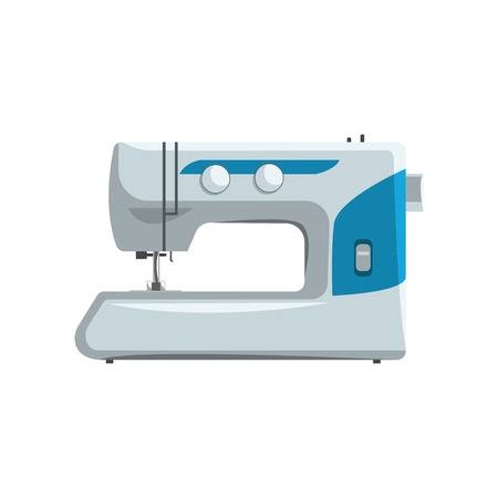 Modern sewing machine, dressmakers equipment vector Illustration isolated on a white background.