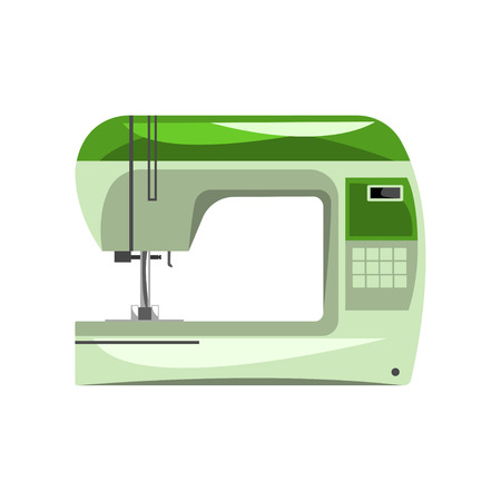 Green modern electronic sewing machine, dressmakers equipment vector Illustration isolated on a white background. Иллюстрация