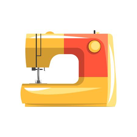 Orange modern electronic sewing machine, dressmakers equipment vector Illustration isolated on a white background. Illustration