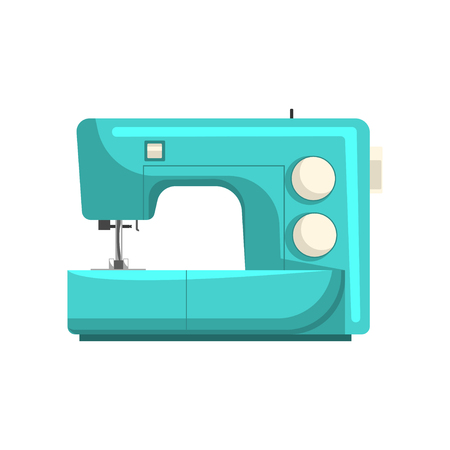 Blue modern electronic sewing machine, dressmakers equipment vector Illustration isolated on a white background.