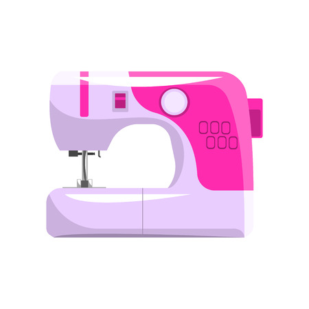 Pink modern electronic sewing machine, dressmakers equipment vector Illustration isolated on a white background.