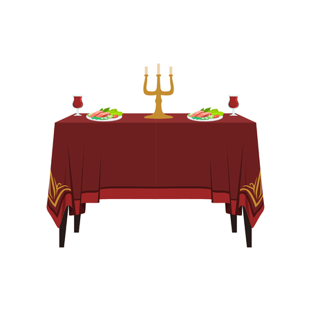 Table in restaurant for two people, banquet table with food, drinks and candles vector Illustration on a white background