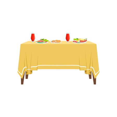 白い背景に隔離された2人用ベクターイラストのためのレストランテーブルの上のおいしい食べ物や飲み物。