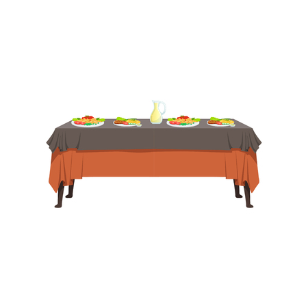 Delicious food on restaurant table, banquet table with food, vector Illustration isolated on a white background.