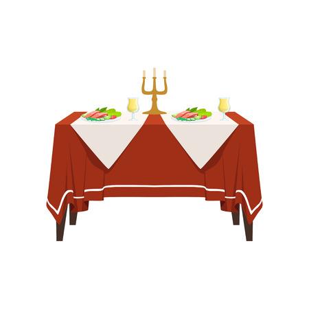 Table au restaurant pour deux personnes, dîner romantique de vacances festives, table de banquet avec nourriture, boissons et bougies vector Illustration isolée sur fond blanc.