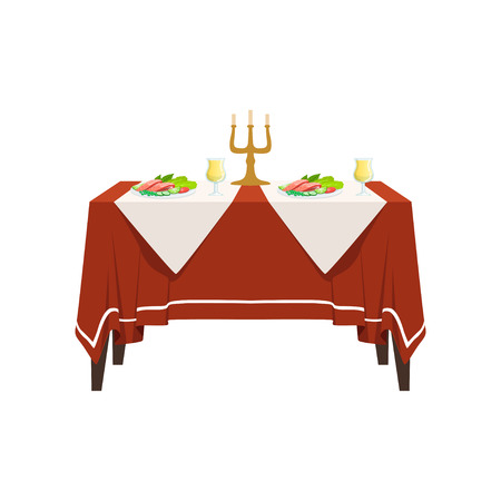 Table in restaurant for two people, festive holiday romantic dinner, banquet table with food, drinks and candles vector Illustration isolated on a white background.