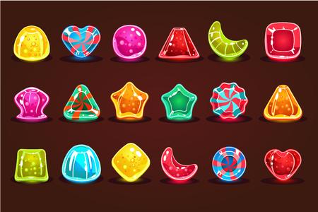 Caramelos de colores brillantes, detalles para juegos de computadora, ilustraciones vectoriales de interfaz de aplicación, diseño web