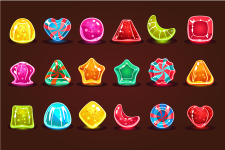 Colorful glossy candies, details for computers game, app interface vector Illustrations, web design