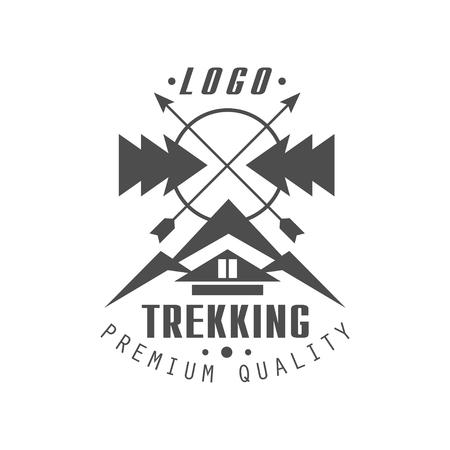 Trekking premium quality  design, vintage black and white mountain exploration outdoor adventure symbol, vector Illustration on a white background Çizim