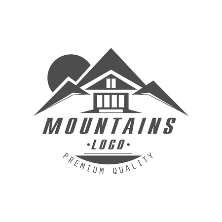 Mountain premium quality vintage black and white mountain exploration outdoor adventure symbol vector Illustration on a white background